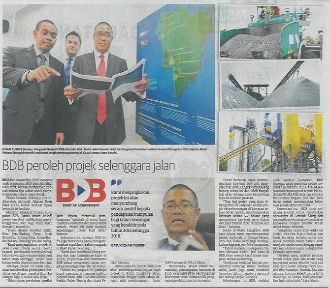 BDB Peroleh Projek Selenggara Jalan