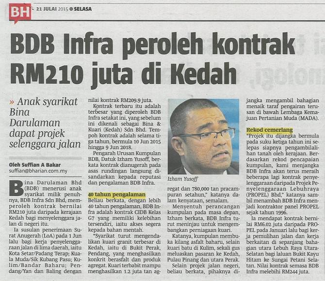 BDB Infra Peroleh Kontrak RM 210 juta di Kedah