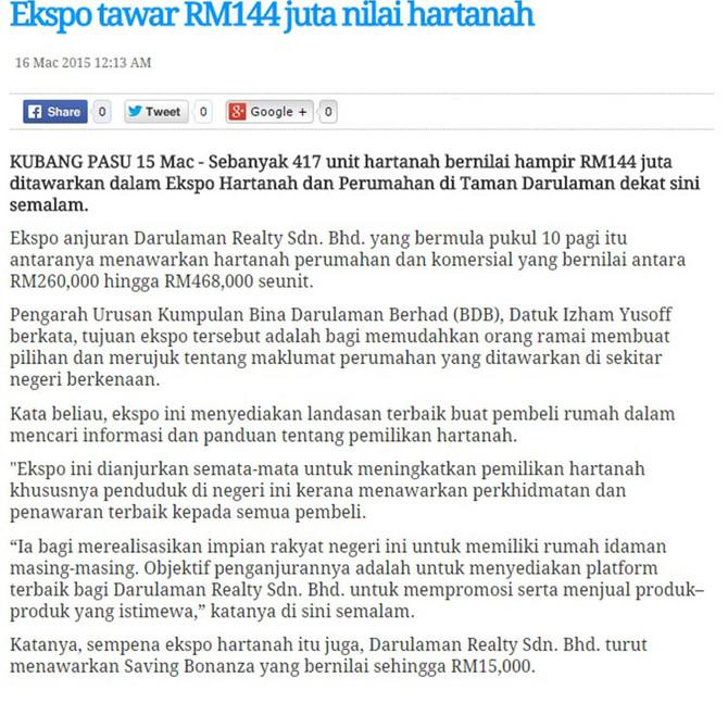Ekspo Tawar RM144 juta Nilai Hartanah