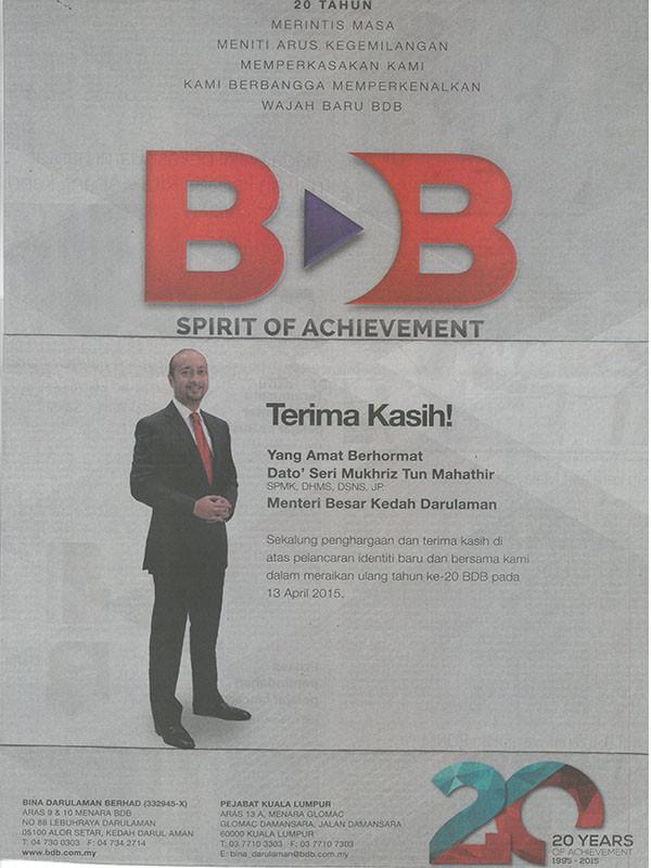 Ucapan Terima Kasih kepada Menteri Besar Kedah