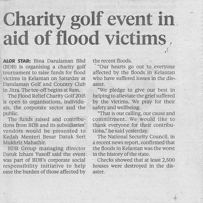 Charity Golf Event in Aid of Flood Victims
