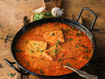 Rajwadi Dhokli Nu Shak (Chickpea Flour Dumplings in Yogurt Curry)
