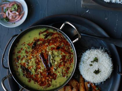 Khatta Mag (Spiced Moong in Yogurt Curry)- With Vegan Option