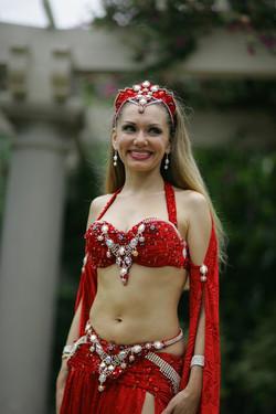 Louchia red costume white diamonds looki
