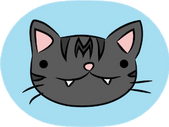 Momo & Pals logo. Showing a cartoon cat with a derpy expression.