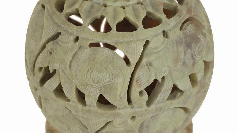 Soapstone Hand Carved Cone Burner & Tea Light Candle Holder