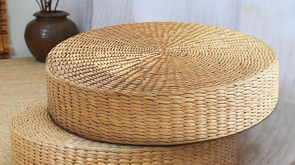 Round Straw Cushion: Hand Woven