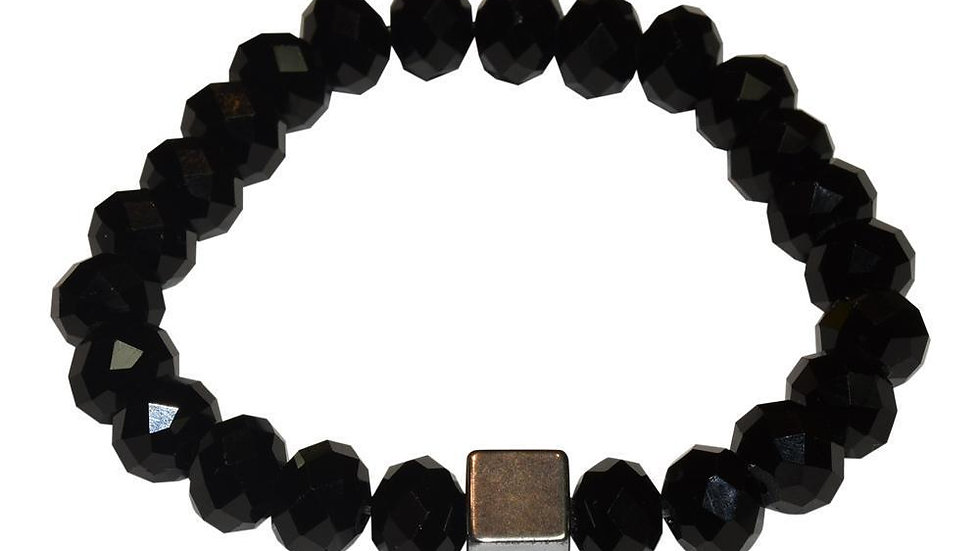 Cube Hematite Bracelet - Black