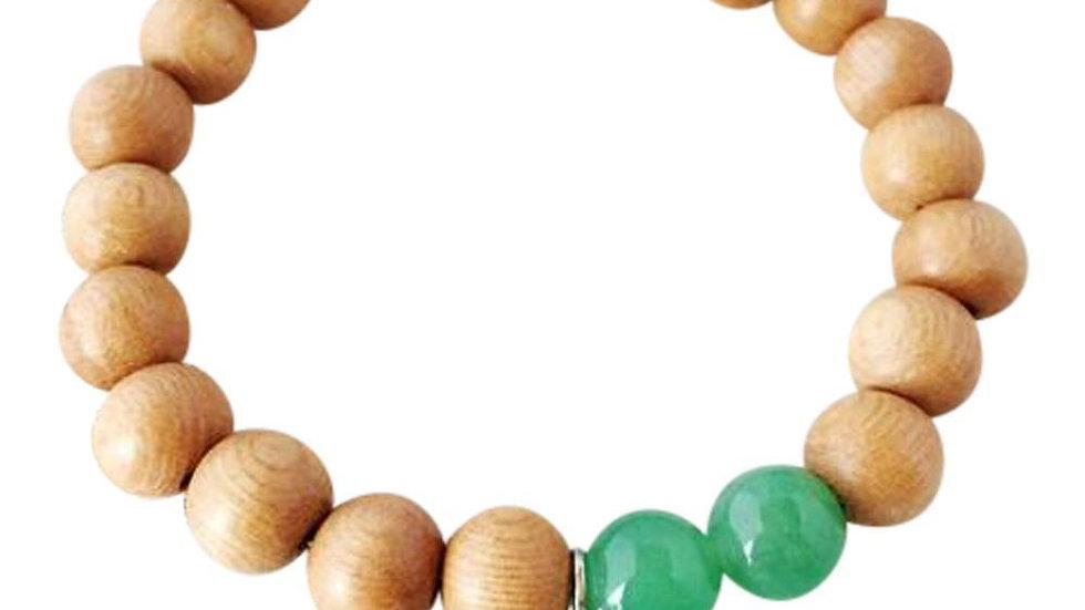 Aventurine & Sandalwood Sterling Silver Bracelet