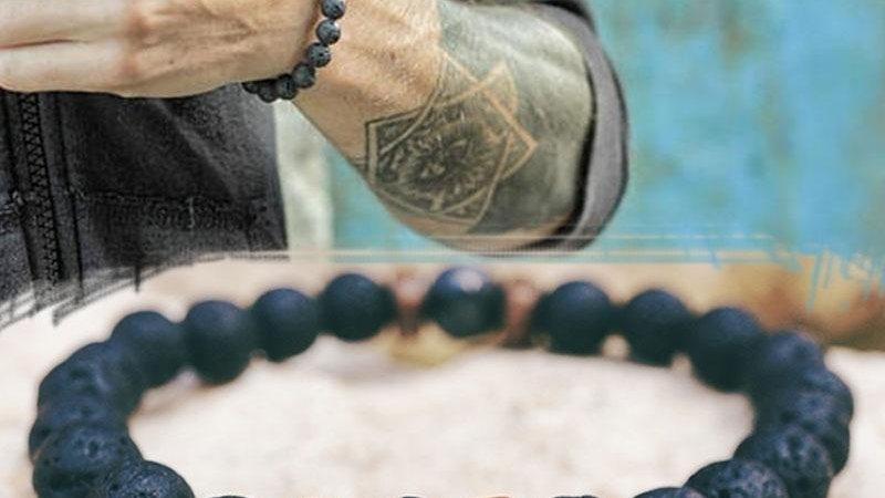 Men's Bracelet Natural Lava & Moonstone Bead Tibetan Buddha Bracelet
