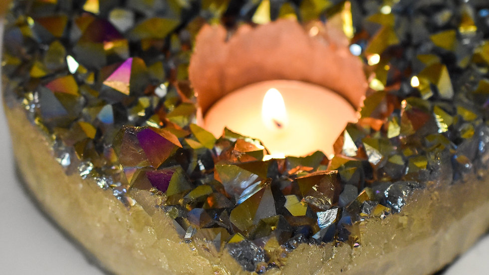Amethyst Rainbow Heart Candle Holders