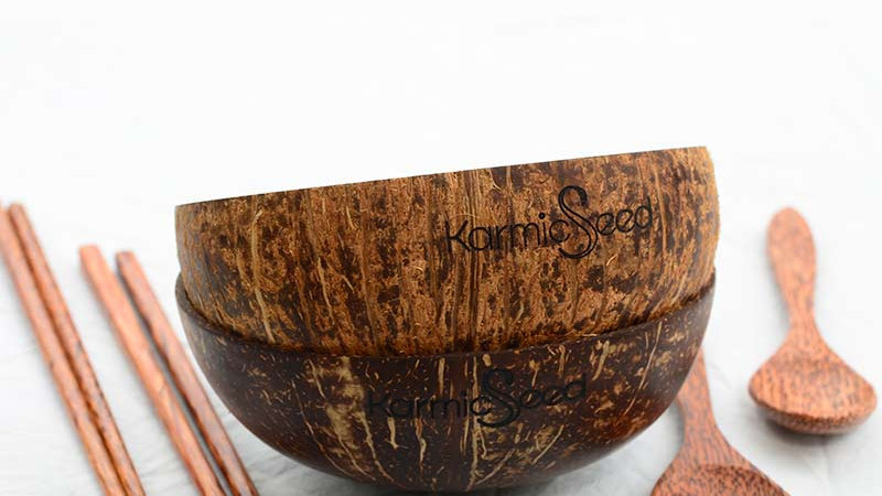 Coconut Bowl Set, Handmade (2 Bowls, 2 Spoons, 2 Chopstick Sets))
