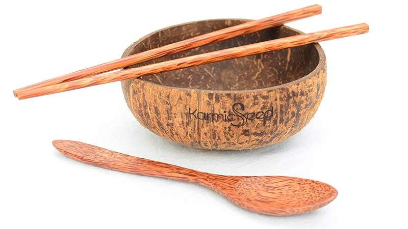 Coconut Bowl Set, Handmade (1 Bowl, 1 Spoon & 1 Chopstick)