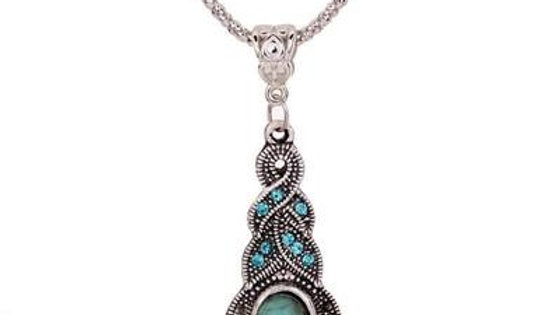 Crystal Accent Blue Turquoise Pendant Necklace