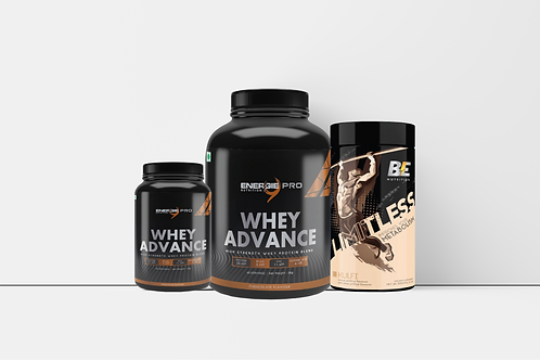 (COMBO OF 3) gainer 3kg +whey advance and BE nutrition for metabolism