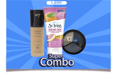 COMBO PACK OF 3 (St lves FACE SCRUB & trio eye shadow with No7 foundation