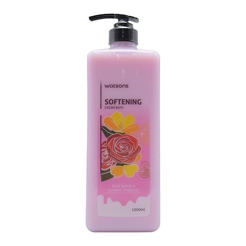Watsons Softening Cream Bath, Rose Water & Evening Primrose - 1000ml
