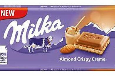 Milka Almond Crispy Creme Milk Chocolate