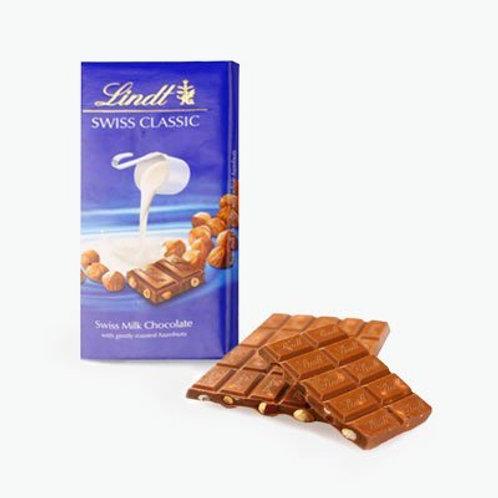 Lindt Swiss Classic Milk Chocolate with Hazelnut Bar 100g