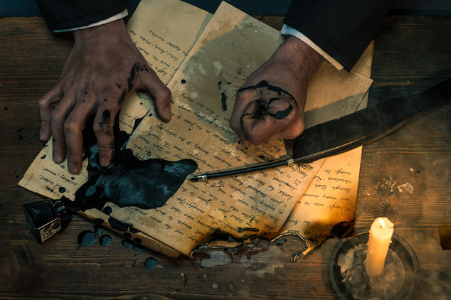 Poe's frustration is visible. Here, the writer expresses his anger and his desire for revenge. The link between Hop-Frog and Allan Poe is stronger. Notice the burnt and damaged paper which is a link to what is about to happen in the story.