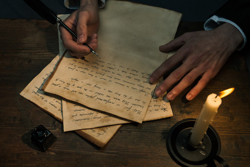 We can see the hands of Poe writing the story. This creates a link between the story and the writer.