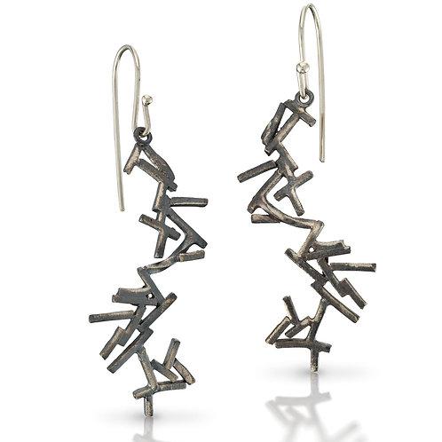 Pick Up Sticks Earrings, Oxidized Silver