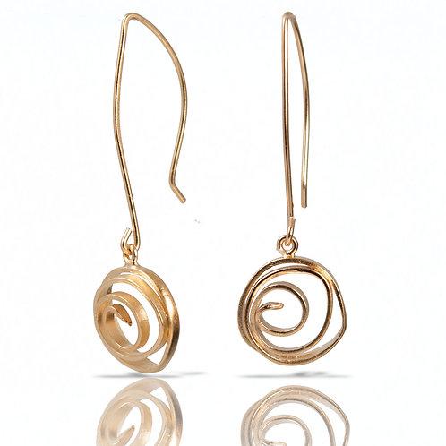 Small Swirl Earrings, Vermeil Long