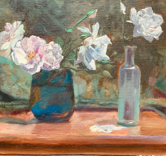 Roses in Blue Glass