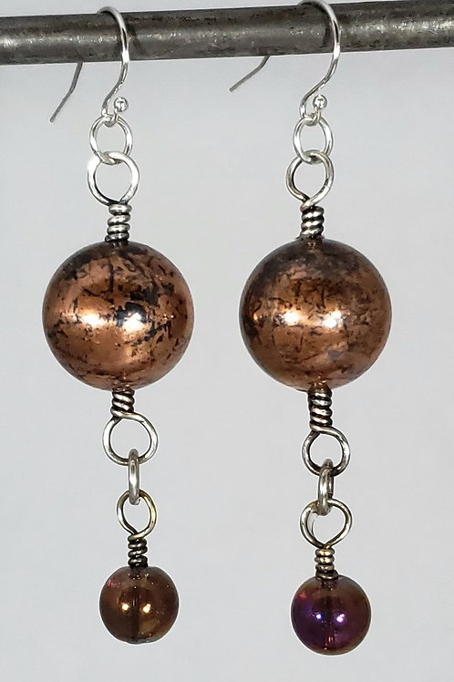 Sphere & Iridescent Bead Earrings