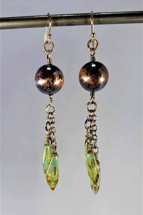 Copper Sphere & Czech Glass Earrings