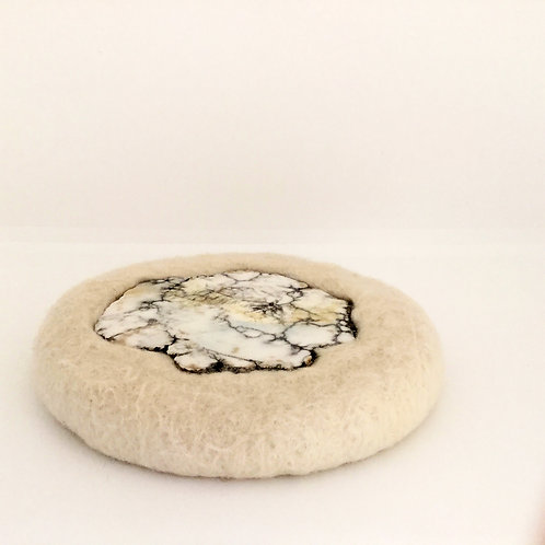 Felted Wool Trivet, Cream, Large