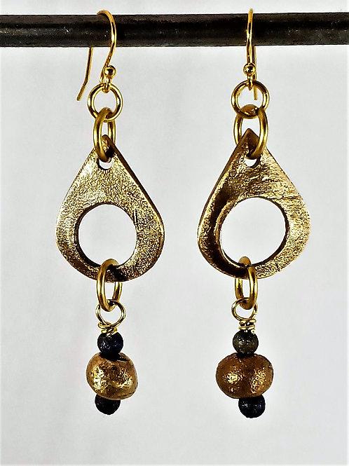 Bronze Teardrop & Ancient Bead Earrings