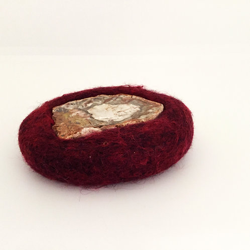 Felted Wool Trivet, Deep Red