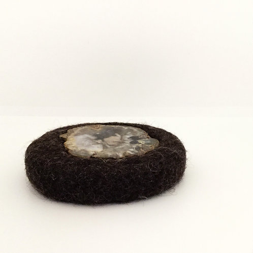Felted Wool Trivet, Deep Brown