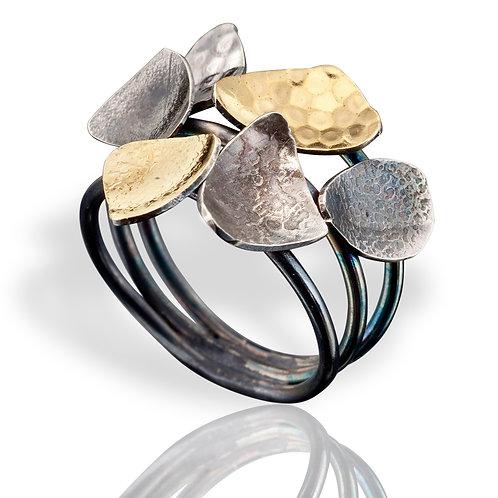 Low Satellite Ring, Silver-Gold
