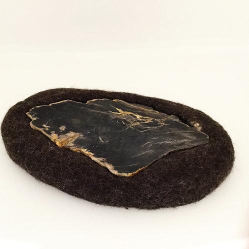Felted Wool Trivet, Deep Brown, Large