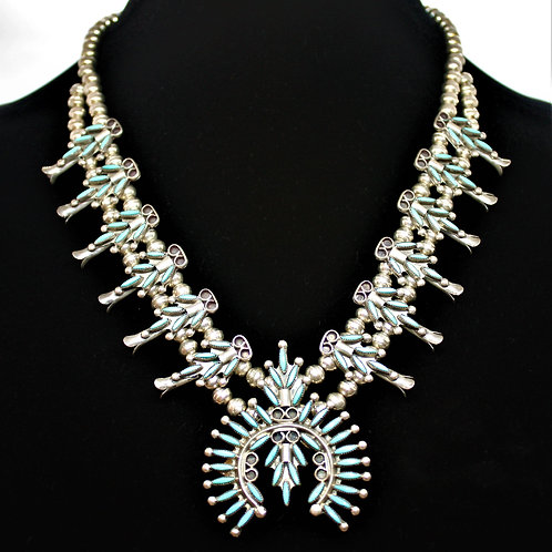 Zuni Turquoise Sterling Silver Squash BlossomNecklace