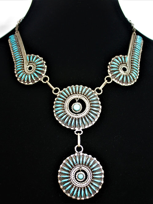Zuni Turquoise Sterling Silver Necklace
