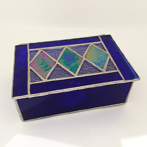 Stained Glass Jewelry Box, Blue
