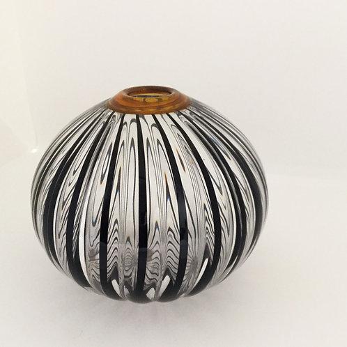 Round Glass Vase, Brown Rim