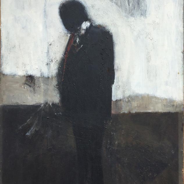 Man Wearing a Red Tie