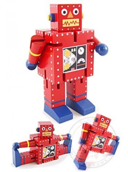 ❤️Posable Rocky Red Robot Wooden Toy 🤖