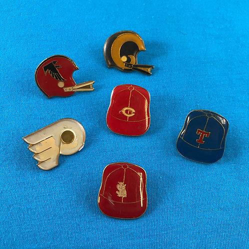 6 Vintage Metal Sports Pins