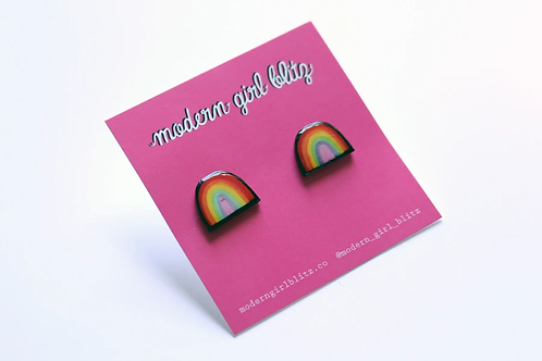 🌈Modern Girl Blitz Rainbow Stud Earrings💕