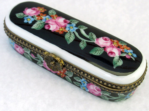 Limoges hand painted hairpin box