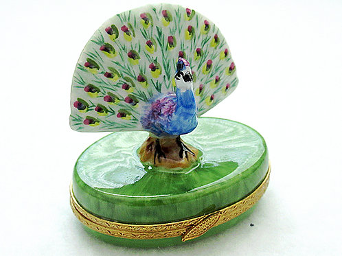 Limoges porcelain hand painted Peacock box
