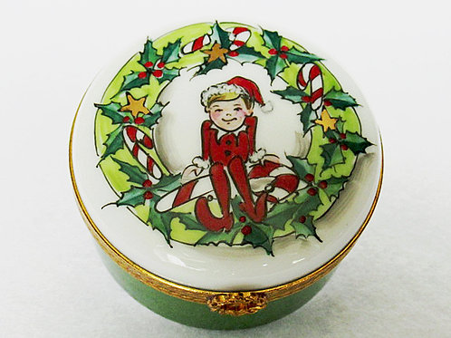 "Limoges hand painted ""ELF"" Christmas box"