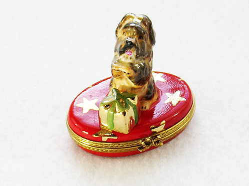 Christmas Yorkie Limoges box