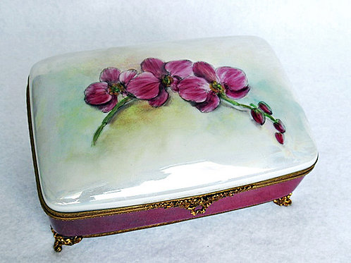 Limoges hand painted LG size porcelain jewelry box, Orchids design