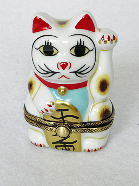 Limoges Good Fortune Cat